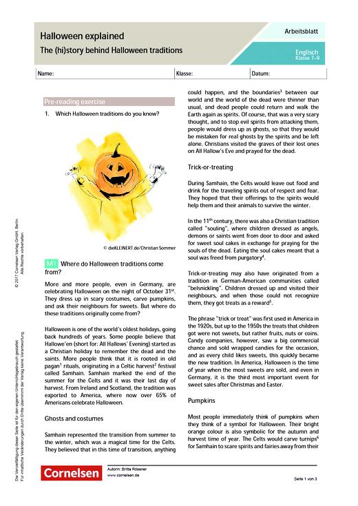 Halloween explained – The (hi)story behind Halloween traditions - Arbeitsblatt - Webshop-Download