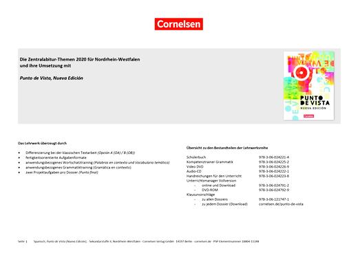 Punto de vista - Die Zentralabitur-Themen 2020 für NRW - Synopse - B1/B2