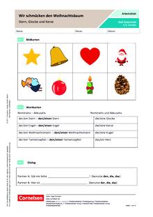 DaZ: Wir schmücken den Weihnachtsbaum - Arbeitsblatt
