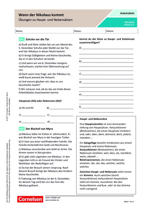 Wenn der Nikolaus kommt – Übungen zu Haupt- und Nebensätzen - Arbeitsblatt
