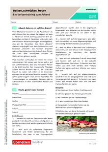 Backen, schmücken, freuen: Ein Verbentraining zum Advent - Arbeitsblatt