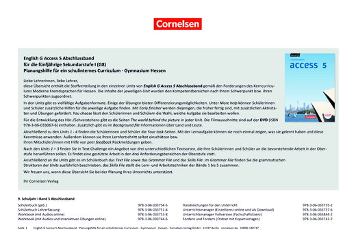 English G Access - Synopse English G Access 5 Abschlussband Hessen - Synopse - Webshop-Download