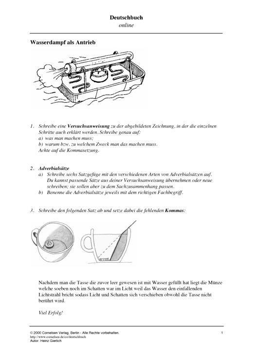 Deutschbuch Gymnasium - Adverbialsätze: Versuchsanweisungen verfassen - Leistungsmessung, Test, Prüfung - zu Lehrwerken - 7. Schuljahr