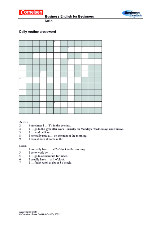 Daily Routine Crossword - Arbeitsblatt