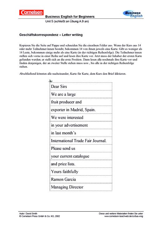Geschäftskorrespondenz - Letter writing - Arbeitsblatt