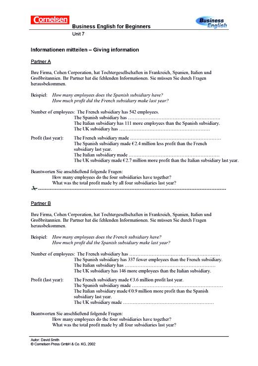Informationen mitteilen - Giving information - Arbeitsblatt