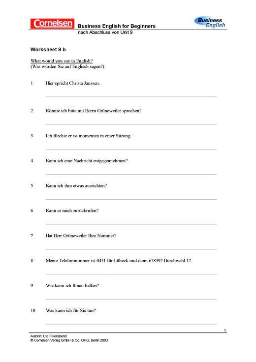Worksheet 9b Grammatik - Arbeitsblatt