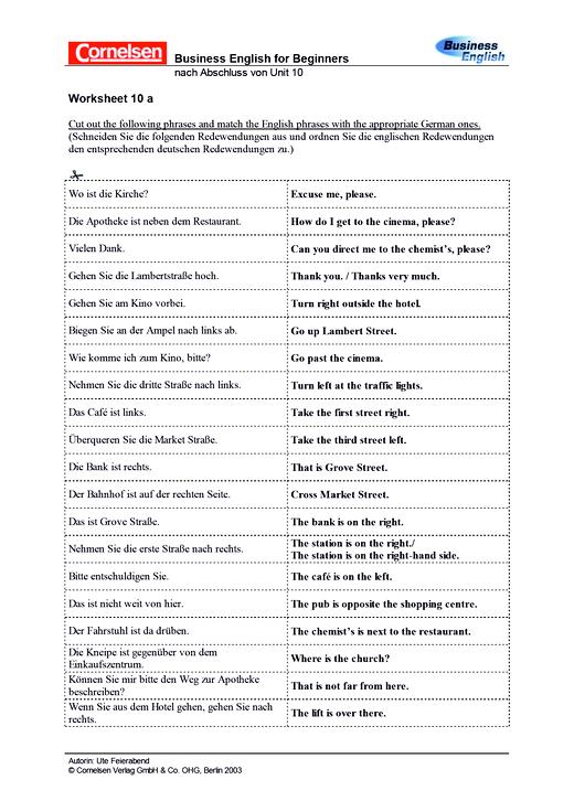 Worksheet 10a Grammatik - Arbeitsblatt
