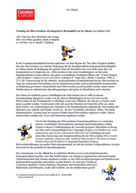 Bedeutung des Hörverstehens - Didaktische Fachinfo - Webshop-Download