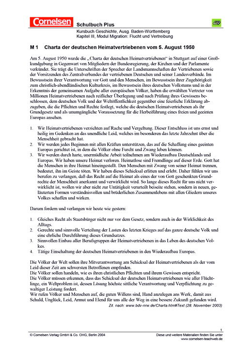 Die Charta der deutschen Heimatvertriebenen von 1950 - Arbeitsblatt - Webshop-Download