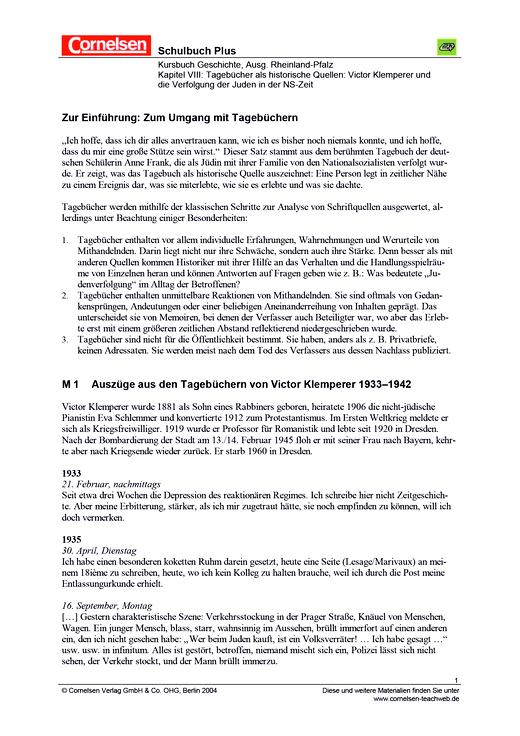 Tagebücher als historische Quellen: Victor Klemperer und die Verfolgung der Juden in der NS-Zeit - Arbeitsblatt - Webshop-Download