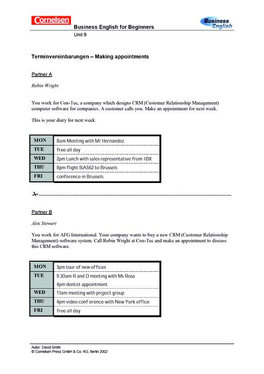 Millionaires' diaries – arranging to meet - Arbeitsblatt - Webshop-Download