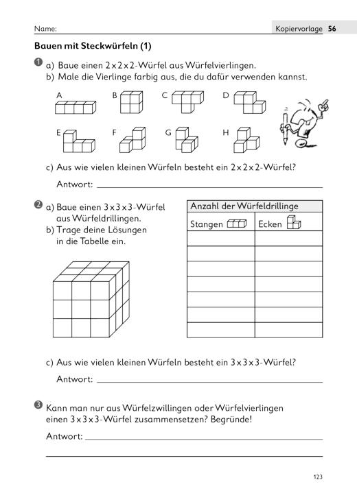 Bauen mit Steckwürfeln - Arbeitsblatt