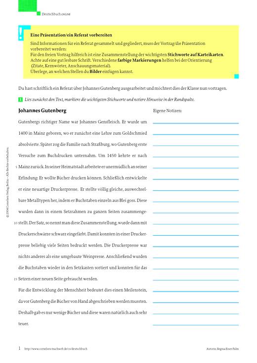 Deutschbuch Gymnasium - Eine Präsentation /  ein Referat vorbereiten: Johannes Gutenberg - Arbeitsblatt - 7. Schuljahr