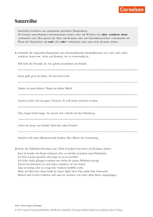 Grammatikübung: Satzreihen - Arbeitsblatt