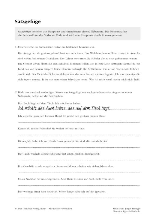Grammatikübung: Satzgefüge - Arbeitsblatt