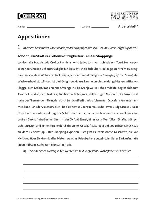Unsere Muttersprache - Appositionen - Arbeitsblatt - 8. Schuljahr