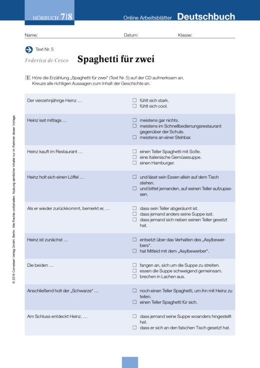 Deutschbuch Gymnasium - Federica de Cesco: Spaghetti für zwei - Arbeitsblatt zum Hörbuch - 7./8. Schuljahr