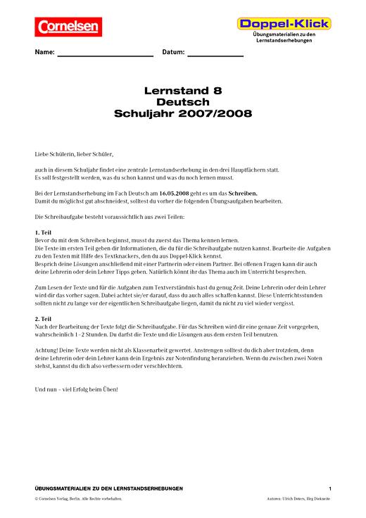 Übungsmaterialien zur Vorbereitung auf die Lernstandserhebungen in Jahrgangsstufe 8 - Lernstandserhebung NRW - Webshop-Download