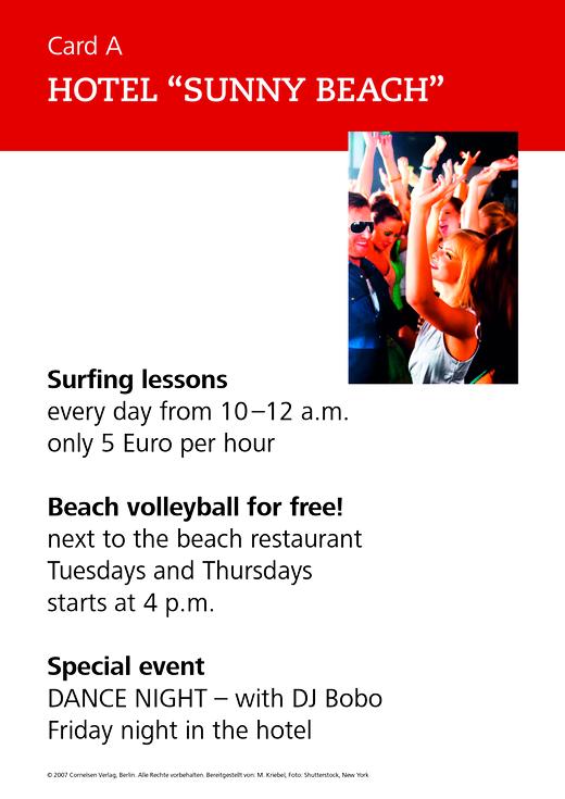 """New Highlight - Hotel """"Sunny Beach"""" - Role-play card - Band 1-6: 5.-10. Schuljahr"""