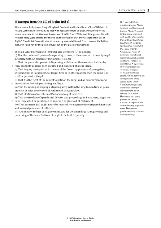 Excerpt from the Bill of Rights (1689) - Historical Document - Webshop-Download
