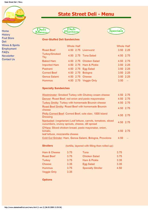 State Street Deli - Arbeitsblatt - Webshop-Download