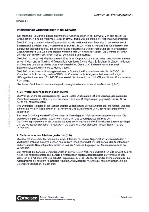 Internationale Organisationen in der Schweiz - Arbeitsblatt