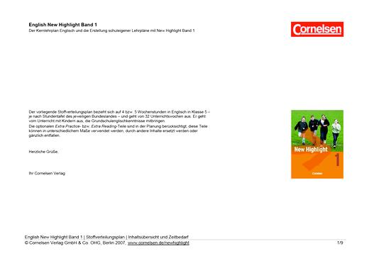 New Highlight - Allgemeine Fassung (Vorkenntnisse Englisch) mit Kompetenzen - Stoffverteilungsplan - Band 1: 5. Schuljahr