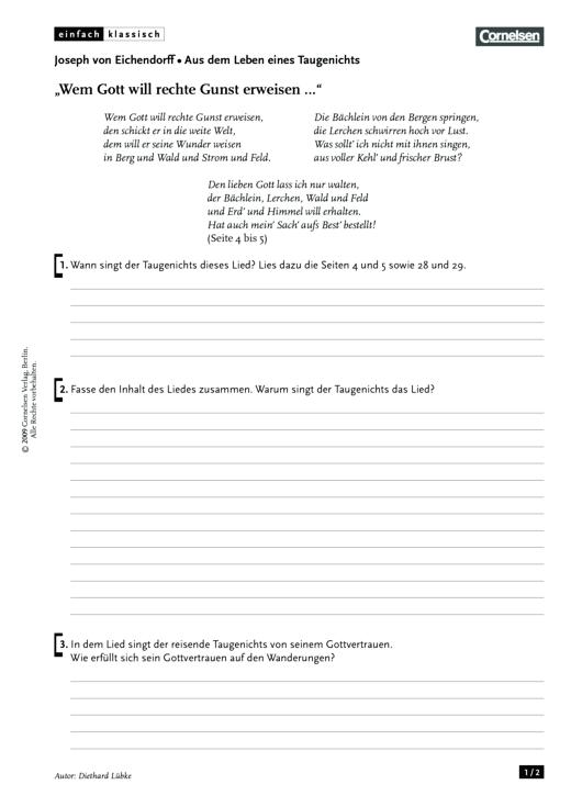 """Einfach klassisch - Einfach klassisch: Aus dem Leben eines Taugenichts - """"Wem Gott will rechte Gunst erweisen …"""" - Arbeitsblatt - Webshop-Download"""