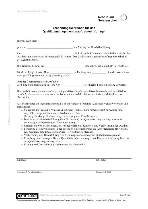 Ernennungsschreiben der QMB - Dokumentenbeispiel für Qualität in der Pflege - Webshop-Download