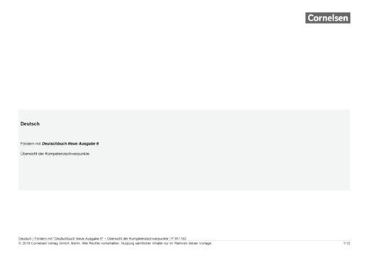 Deutschbuch Neue Ausgabe 6 - Kompetenzverteilung - Kompetenzverteilung - Webshop-Download
