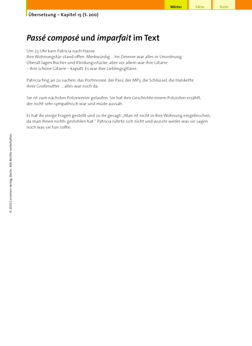 Übersetzung (15.6.2 Passé composé und imparfait im Text) - Arbeitsblatt