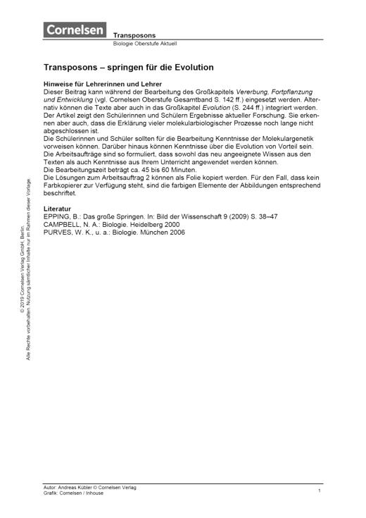 Transposons – springen für die Evolution - Arbeitsblatt