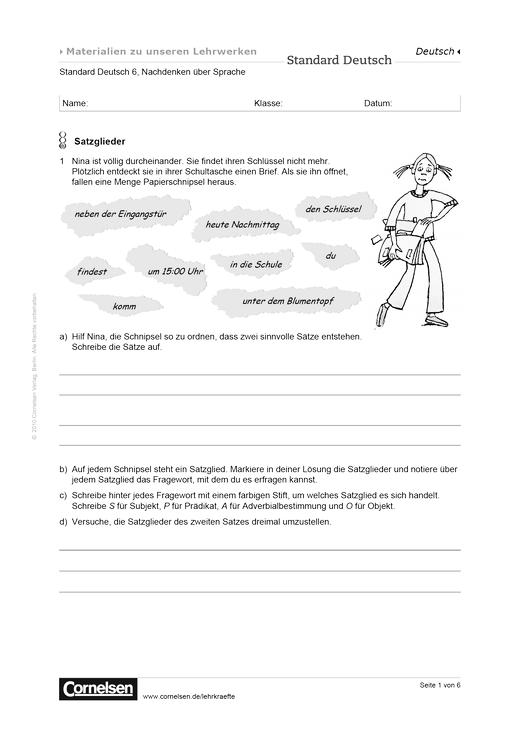 Standard Deutsch 6, Nachdenken über Sprache: Satzglieder - Arbeitsblatt - Webshop-Download
