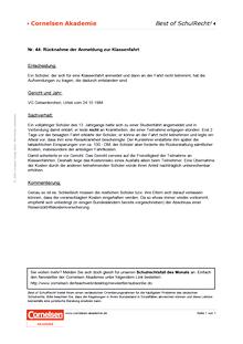 Rücknahme der Anmeldung zur Klassenfahrt - Schulrechtsfall