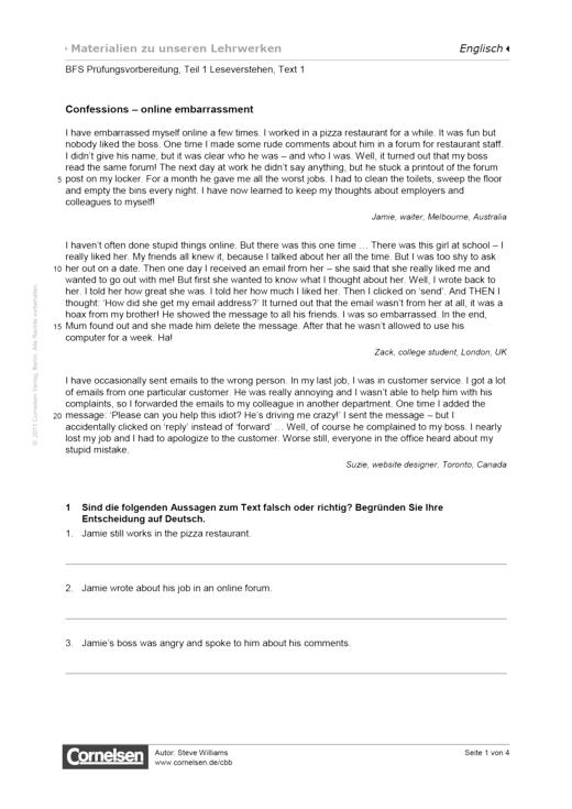 BFS Prüfungsvorbereitung, Teil 1 Leseverstehen, Text 1, Worksheet 1 - Arbeitsblatt