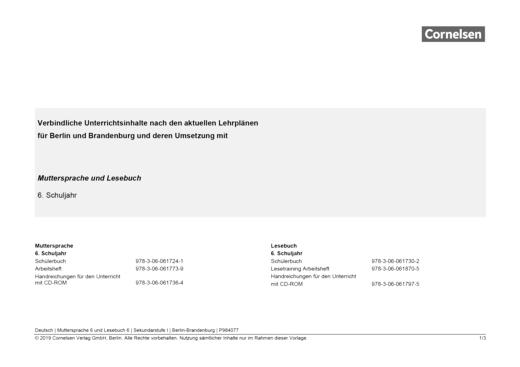 Muttersprache - Synopse für Berlin und Brandenburg und seine Umsetzung in Muttersprache und Lesebuch Band 6 - Synopse - 6. Schuljahr