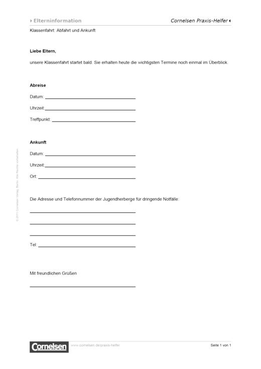 Elternbrief: An- und Abreise zur Klassenfahrt - Editierbare Kopiervorlage