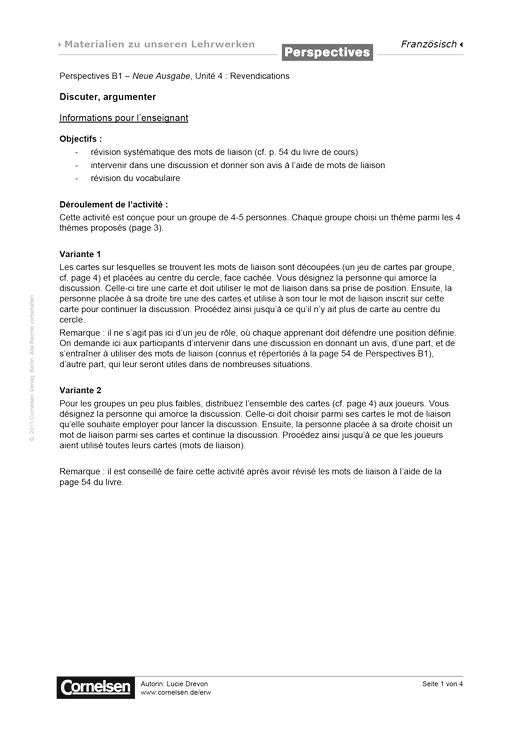 Perspectives - Perspectives B1 – Neue Ausgabe, Unité 4 :  Discuter, argumenter - Arbeitsblatt - Webshop-Download