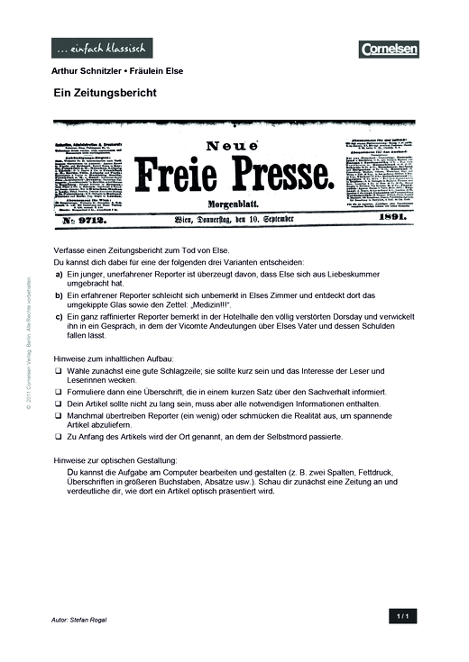 Einfach klassisch: Fräulein Else – Ein Zeitungsbericht - Arbeitsblatt