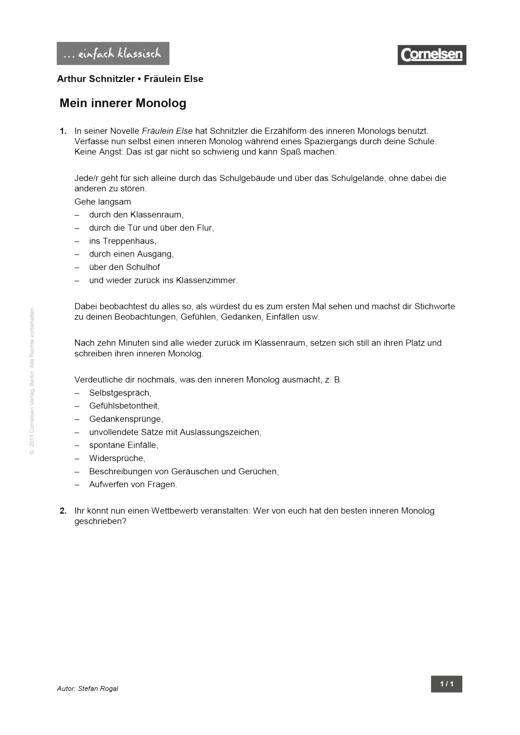 Einfach klassisch: Fräulein Else – Mein innerer Monolog - Arbeitsblatt