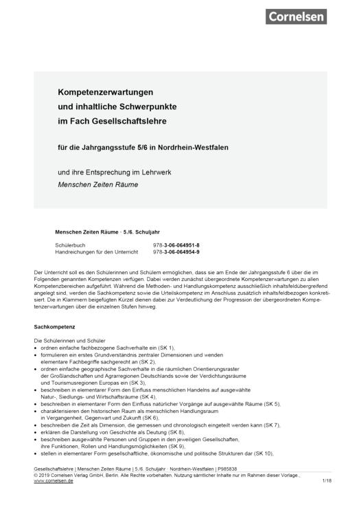 """Menschen-Zeiten-Räume - Synopse zu """"Menschen-Zeiten-Räume"""" (NRW) 1 - Synopse - Band 1: 5./6. Schuljahr"""
