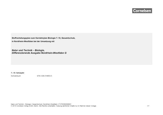 Natur und Technik - Biologie (Ausgabe 2011) - Der neue Kernlehrplan für die Gesamtschule in Nordrhein-Westfalen - Stoffverteilungsplan - Webshop-Download