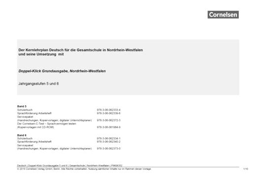 Doppel-Klick - Doppel-Klick Grundausgabe 5 und 6 / Jahresplaner für die Gesamtschule in Nordrhein-Westfalen - Synopse - 5. Schuljahr