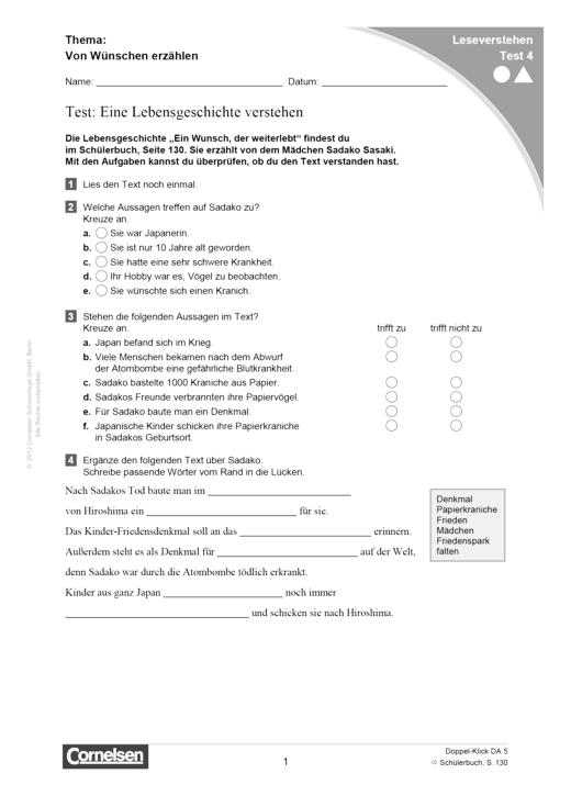 Doppel-Klick - Lesediagnose Test 4 leicht und schwer - Diagnosebogen - 5. Schuljahr