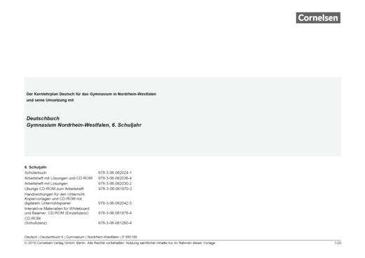 Deutschbuch Gymnasium - Synopse - 6. Schuljahr