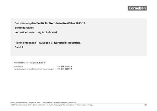 Politik entdecken - Politik entdecken NRW 2 - Planungshilfe für ein schulinternes Curriculum - Synopse - Band 2