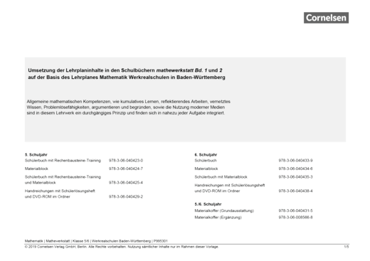 Mathewerkstatt - Synopse Mathewerkstatt Band 1/2 Werkrealschule Ba.-Wü. - Synopse - Band 1/2