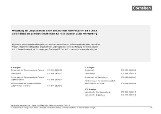 Mathewerkstatt - Synopse Mathewerkstatt Band 1/2 Realschule Ba.-Wü. - Synopse - Band 1/2