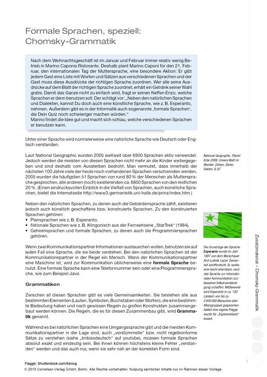 Berufliche Informatik - Berufliche Informatik Java - Zusatzmaterial: Formale Sprachen, speziell: Chomsky-Grammatik - Arbeitsblatt